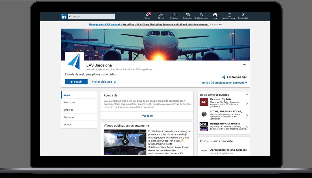 Gestión Redes Sociales Escuela de aviación EAS BCN