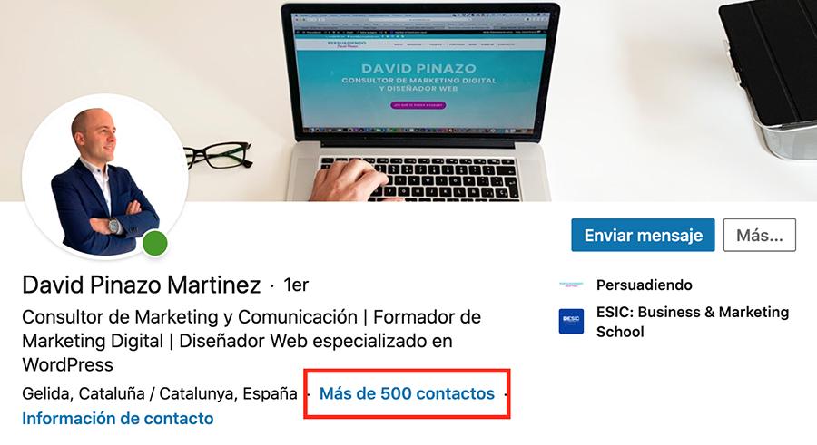Más de 500 contactos en LinkedIn