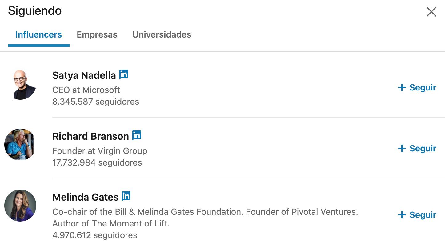 Algunos personajes populares que me sugiere LinkedIn para seguir