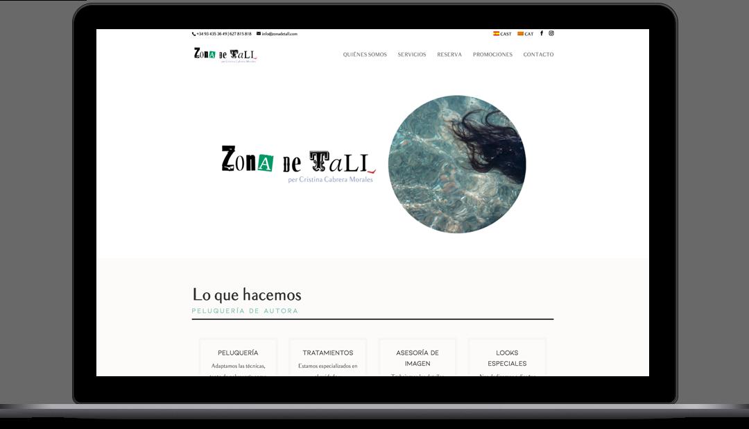 Diseño Web Peluquería de Barcelona. Zona De Tall