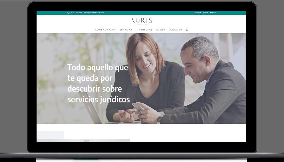 Diseño web Auris Advocats, servicios jurídicos